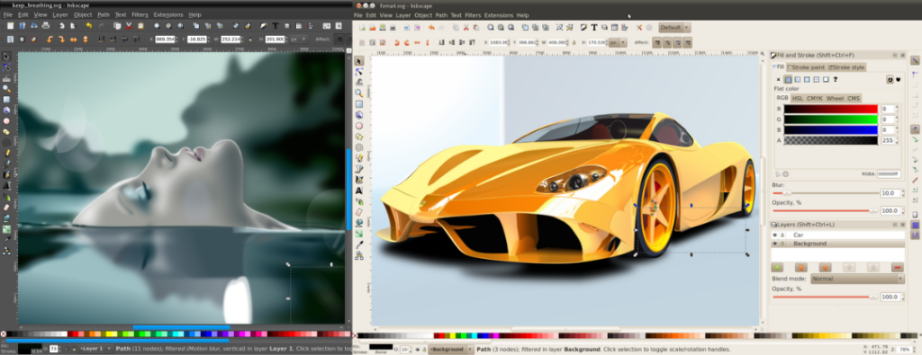 Screenshots of Inkscape GUI, Best free Graphic Designing Software that works on linux, an Alternative to Adobe Illustrator