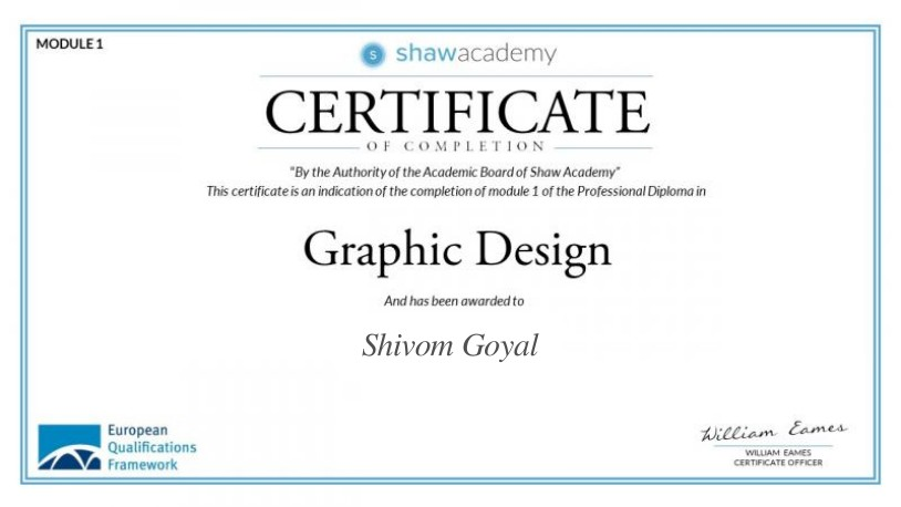 Certificate of completion for a diploma in Graphic Design from Shaw Academy